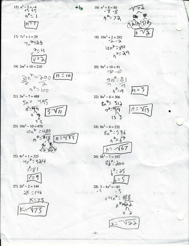 Quadratic equations homework – Quadratic Equations Worksheet
